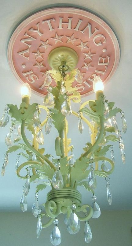 """Anything is Possible"" chandelier medallion - inspiring little ones to dream big- Rinnie's bedroom"