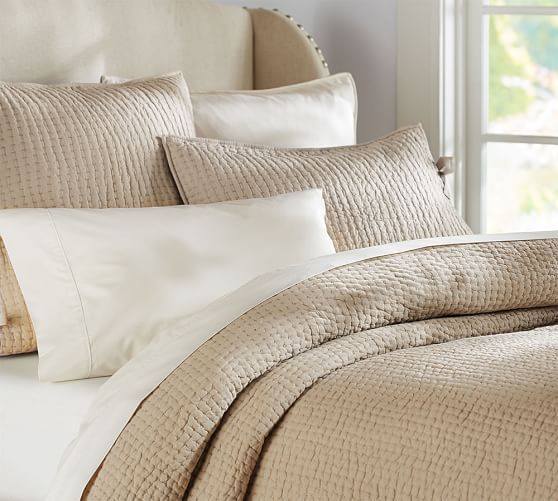Pick-Stitch Handcrafted Quilt & Sham   Pottery Barn