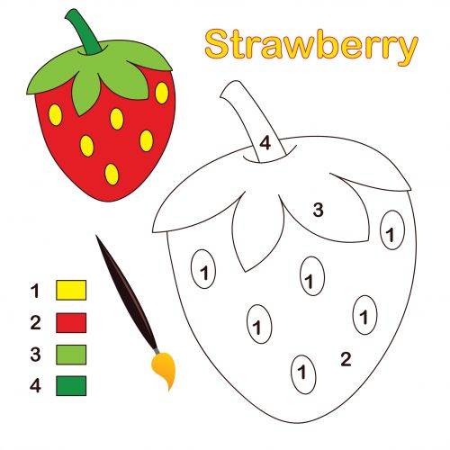 A Strawberry sits ready to color. This color by number activity is simple consisting of only four colors and is perfect as