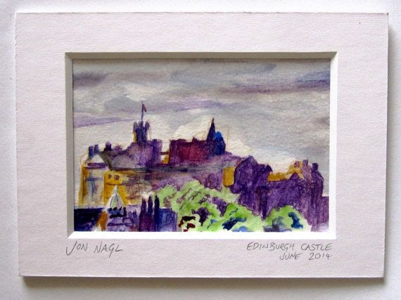 Edinburgh Castle in Purple June 2014 original by jonnagl on Etsy