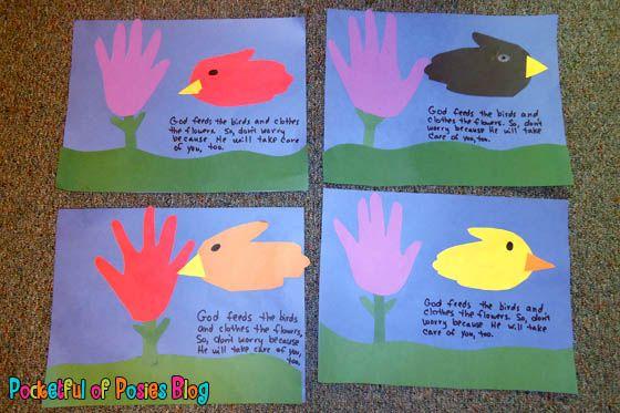 Sunday School Crafts Handprint Flowers Amp Birds Sunday