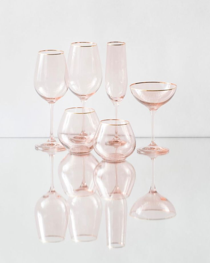 So excited to introduce our NEW Bella 24k Gold Rimmed Glassware in BLUSH!  Water Goblet, Wine Goblet, Champagne Coupe, Champagne Flute, Stemless Water, and Stemless Wine. Available in quantity for events this Fall! #newcollection