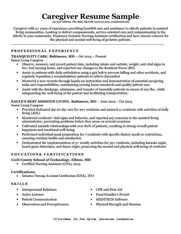 77 Interview Getting Resume Samples By Job Job Affirmations Resume Examples Caregiver Jobs Caregiver Skills
