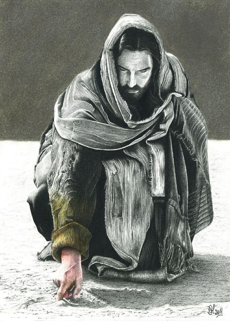 Gesù scrive a terra