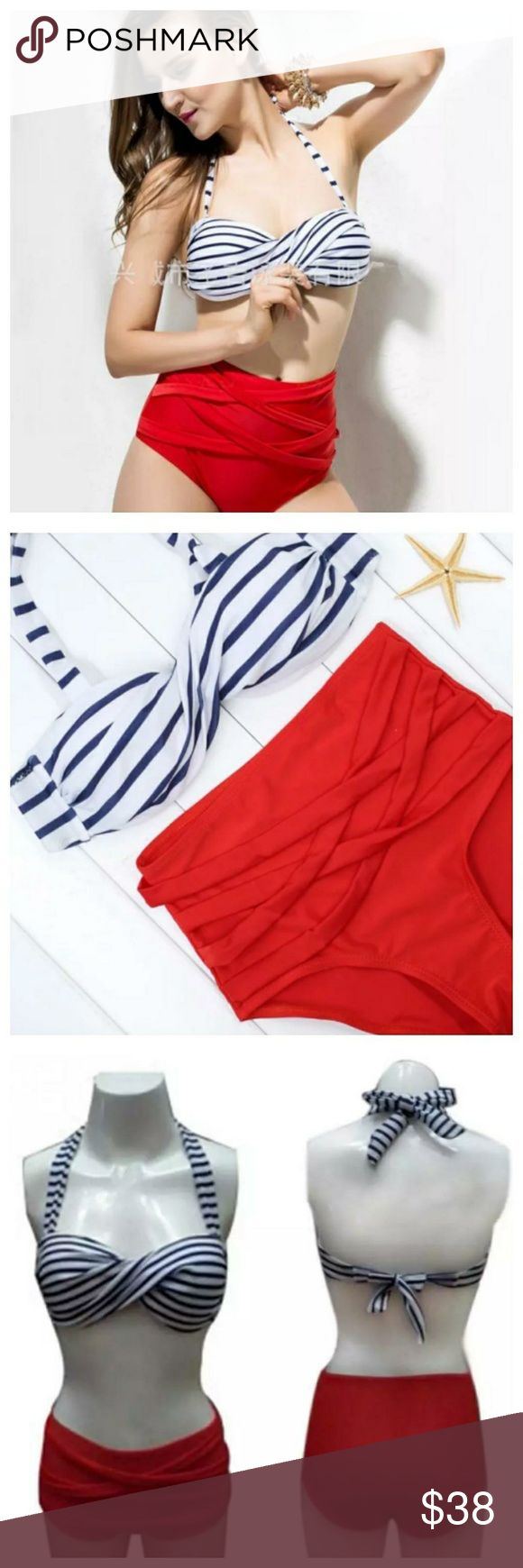 🆕️All American Vintage High Waist Bikini High waisted swimsuit cross strappy suit. Top is white and navy blue. Materials: Cotton, Polyester, Nylon, and Spandex. Swim Bikinis