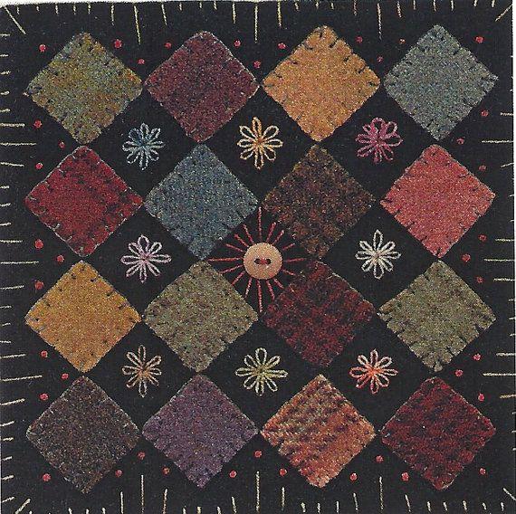 Wool Applique Patterns | Primitive Folk Art Wool Applique Pattern BLOCK by PrimFolkArtShop