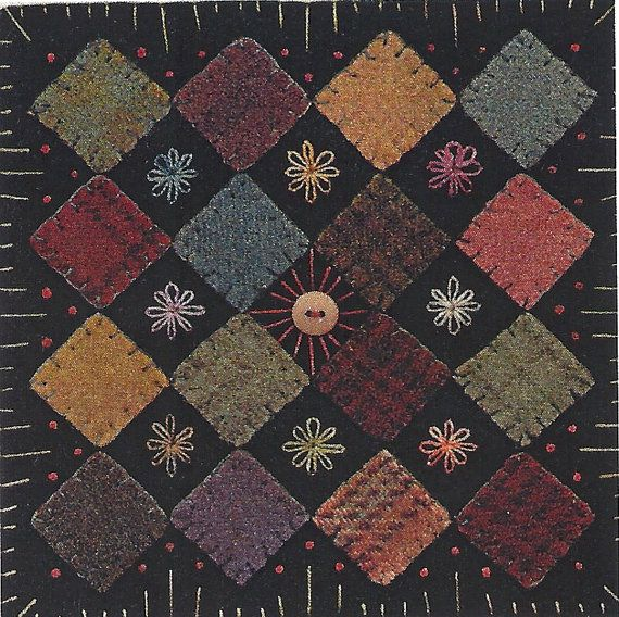 """Primitive Folk Art Wool Applique Pattern: BLOCK GARDEN by Front Porch Quilts : a tiny little pattern - 6.5"""" square. An excellent pattern to use up all of your wool scraps. Could be cute doll house quilt."""