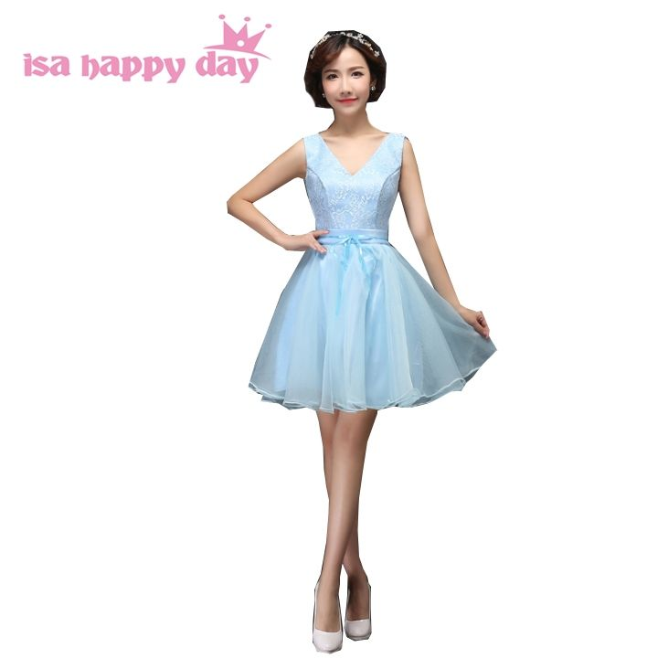 sweet sister group modest braidsmaid light baby blue dress brides maid dresses  for special occasions knee e41d4babd918