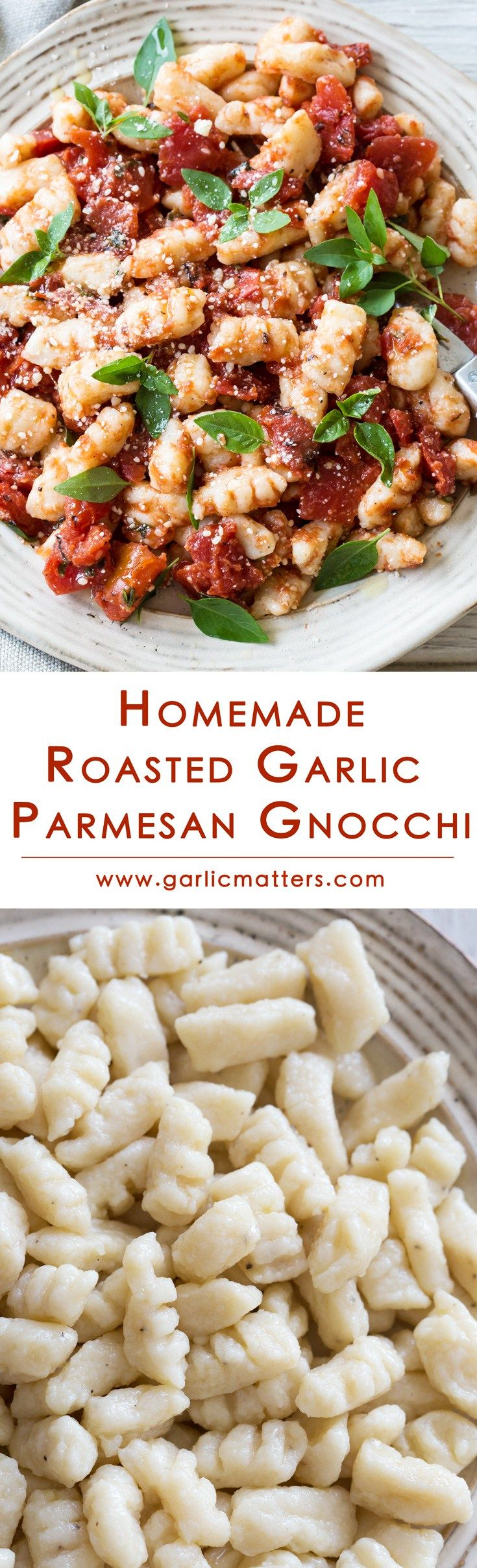 Homemade Roasted Garlic Parmesan Gnocchi with a delicious Tomato Basil Sauce accompaniment are healthy, light, vegetarian and contain no eggs. They are so easy to make! What a great alternative to plain pasta or potatoes! Come on in and check out my foolproof, step by step flavoured potato gnocchi recipe with 9 useful tips!