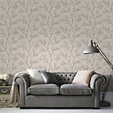 Cream & Gold Icy Trees Glitter Effect Wallpaper | Departments | DIY at B&Q