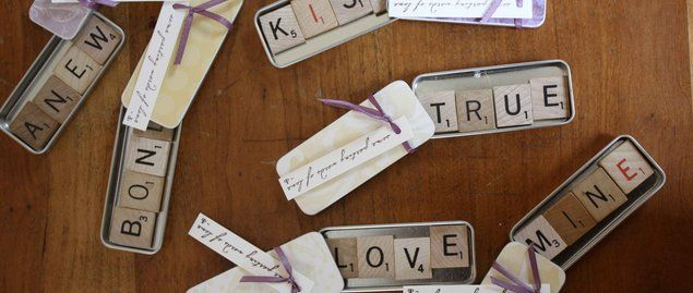 DIY Scrabble Magnet Favors-  perfect for a board game-themed wedding, a wedding based on beautiful words, a poem, or song lyric, or just as an extra charming touch to a simple, DIY wedding.