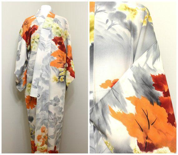 Vintage Japanese Kimono. Hand Dyed Silk Robe. by FurugiStar