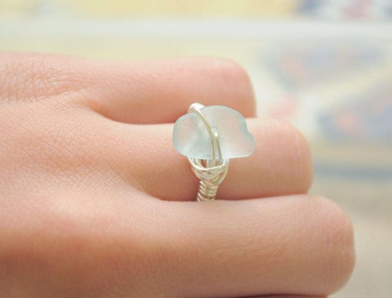 Seaglass Ring  Seaglass Jewelry  In Your Size   by ShatteredSmooth, $12.00