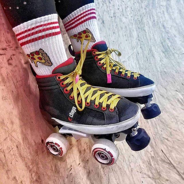 🍕 and skates are equally as important. #itstime #chayakarma .  #Repost @cuban.misselle ・・・ #chaya #chayaskates #chayalifestyle #chayapark #chayadance #powerslide #quadskating #quads #rollerskating #parkskating #rollerskates #chicksinbowls #lifestyle #skate #skatelife #RollerskateEverywhere #patines #chayakarma