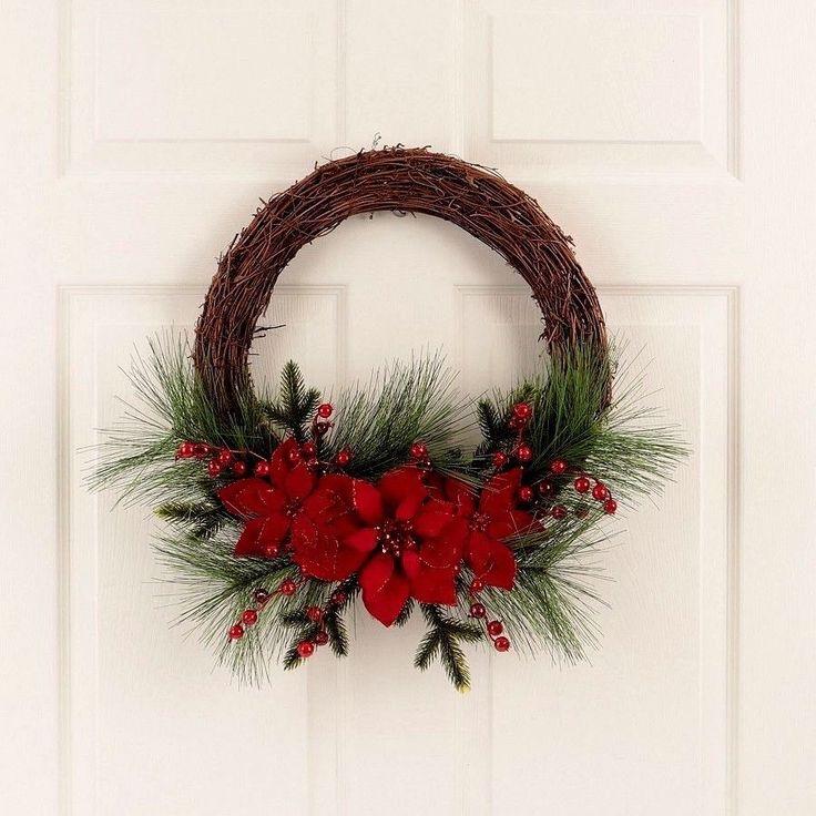 "#Christmas #Door #Wreath 24"" #Unlit #Red Poinsettia Decorated Grapevine Pine #Decor"
