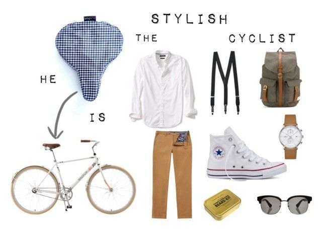 """""""He is the stylish cyclist"""" by bringabag on Polyvore featuring Wildfox, Converse, Florsheim, Gucci, Ted Baker, Banana Republic, Junghans, Herschel Supply Co., Men's Society and men's fashion"""