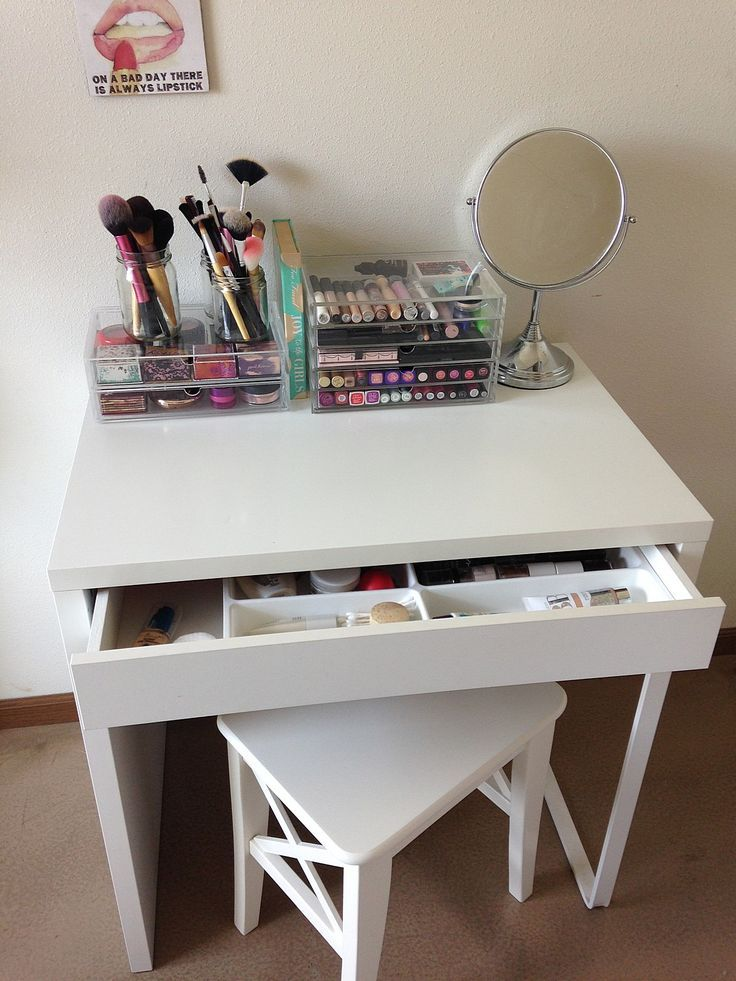 Simple vanity from Ikea and he chair slides under great for small bedrooms.