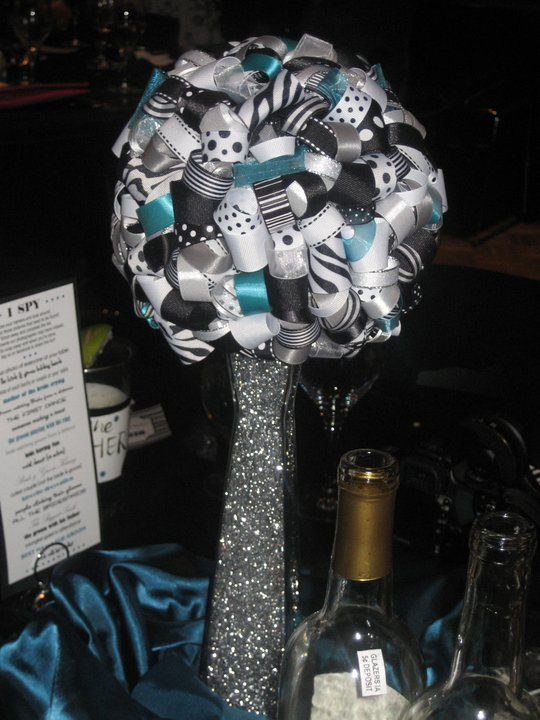 DIY Ribbon Pomanders in Action! : wedding black centerpiece diy pomander reception ribbon teal white Centerpiece