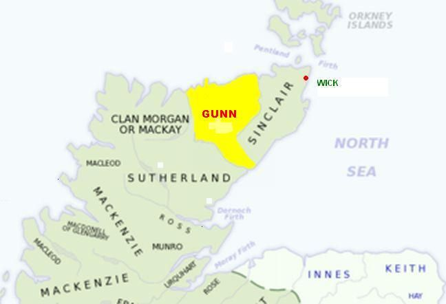 "The Wilson (""son of William"") name associated with Clan Gunn. Many Wilsons in Argyll and Bute, the lowlands of Scotland, northern Ireland and northern England belong to the sept of clan Gunn."