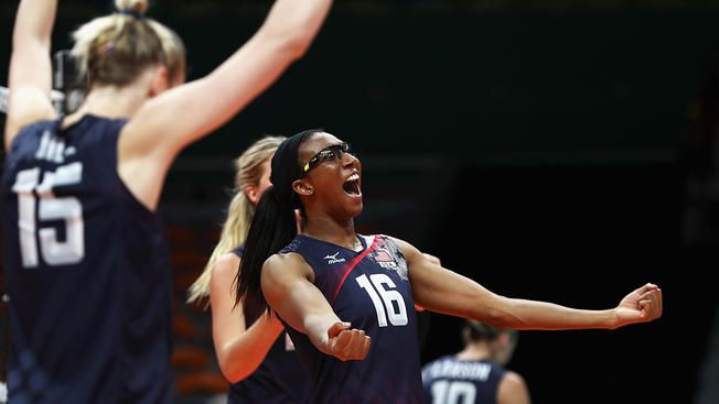 Team USA 3, Team NED 1: Foluke Akinradewo (right) and Kimberly Hill celebrate a point during the women's Bronze Medal match between Netherlands and the United States on Day 15 of the Rio 2016 Olympic Games at the Maracanazinho on Aug. 20, 2016, in Rio de Janeiro, Brazil.