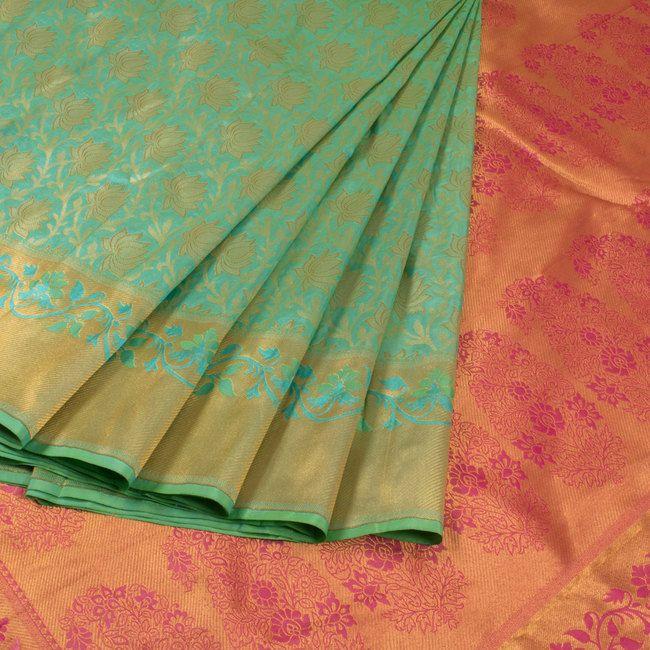 Buy online Handwoven Bluish Green Kanjivaram Silk Saree With Floral Motifs 10013824