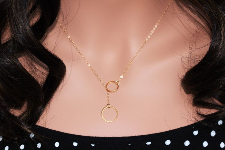 Excited to share the latest addition to my #etsy shop: Delicate Gold Y Necklace Lariat Drop Circle Long Necklace Gold - Two Circle Lariat Necklace - Infinity Ring Y Necklace - gold lariat drop
