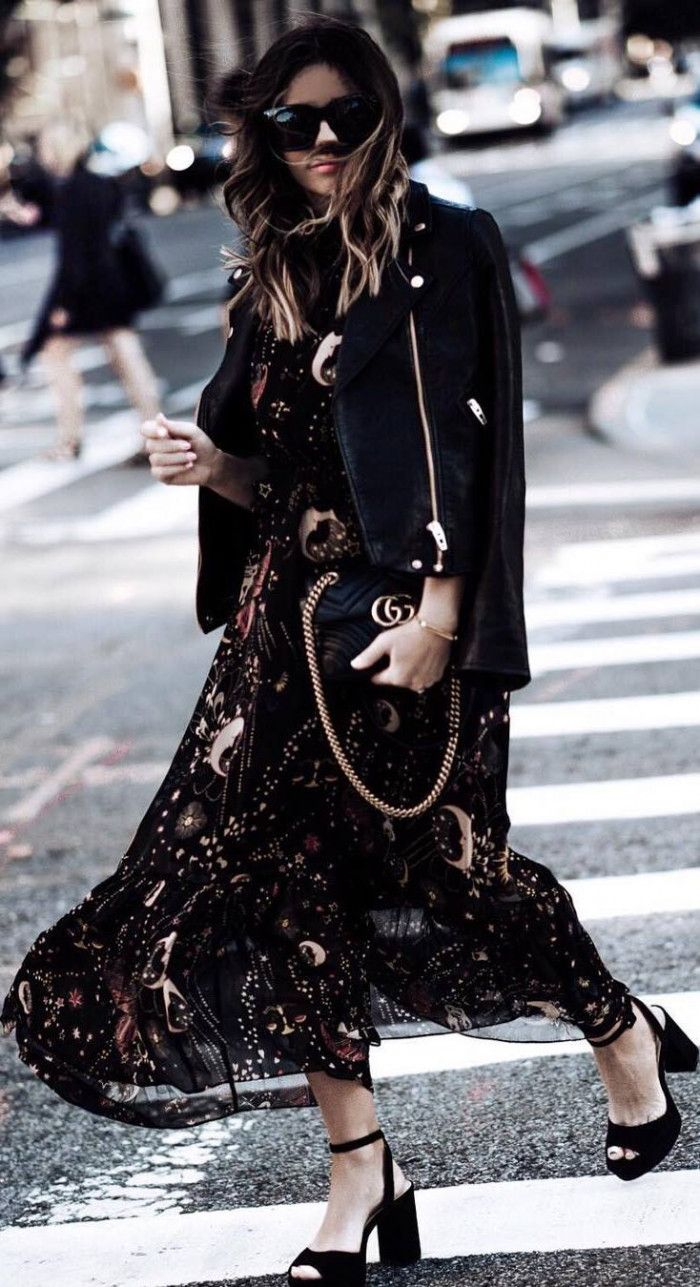 fashionable outfit idea : floral maxi dress   moto jacket   bag   heels