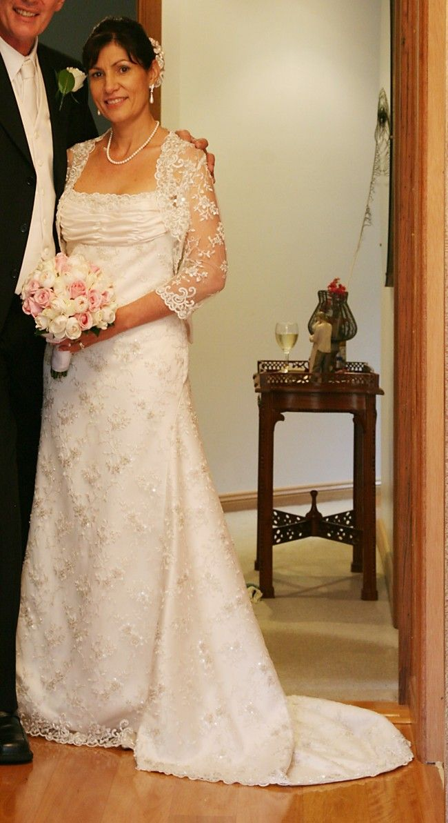 1fc2289352 You can have this wedding gown with shrug lace jacket from Darius Bridal  mad to order with any custom changes you need. We also make #replicas of  haute ...