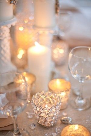 White WeddingLights, Crystals Wedding, Wedding Inspiration, Ideas, Mercury Glasses, Tables Sets, White Wedding, Candles Holders, Wedding Blog