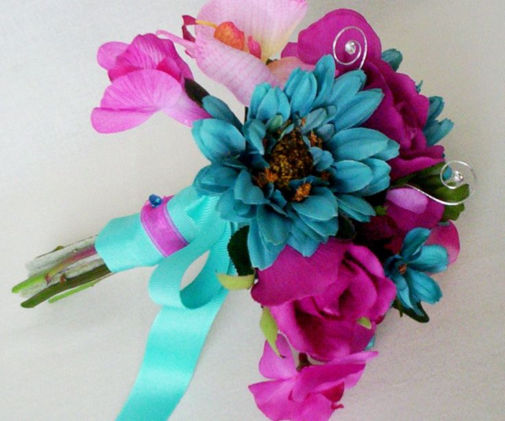 Turquoise Wedding Flowers Fuschia Silk Bridal Bouquet Package Teal Party Boutonnieres Corsages Custom Colors For Kristin