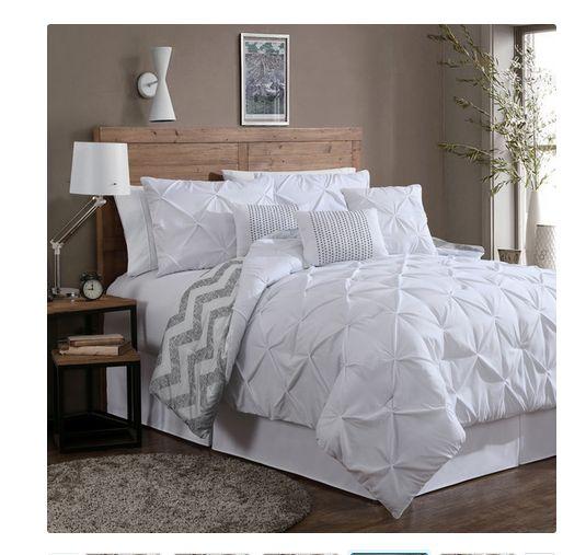 luxurious reversible comforter 7 piece bedding set queen bed pleat king chevron - Queen Bed Comforter Sets