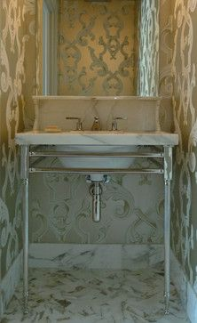 U201cwhite Marble Vanity With Ornate Backsplash Is Supported By Coordinating  Palmer Industries Metal Console Legs