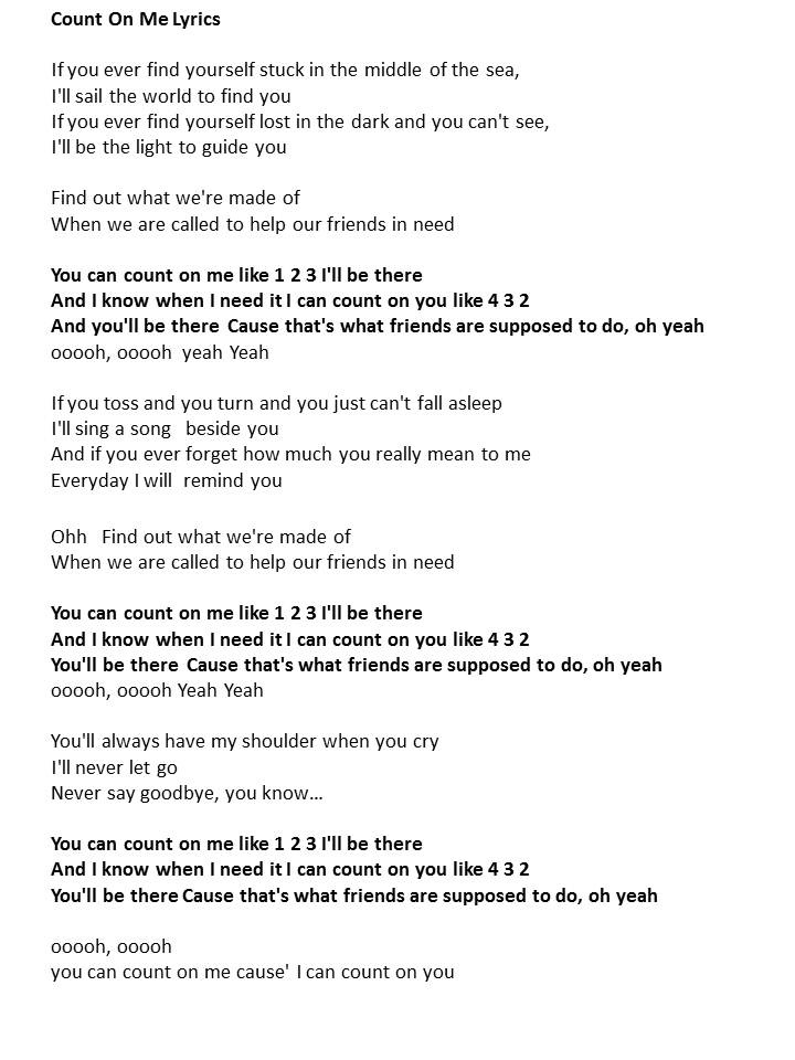 Lyrics to the song me and you