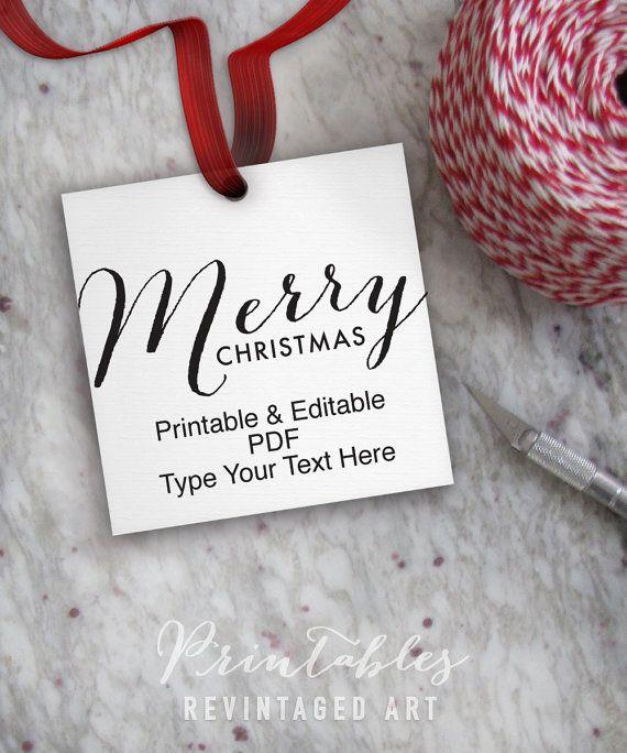 "Printable Christmas Tags // Editable Merry Christmas Tag Template // DIY Digital PDF // 2"" Square 2x2 Holiday Gift Tag, Treat Tag, Candy Tag"
