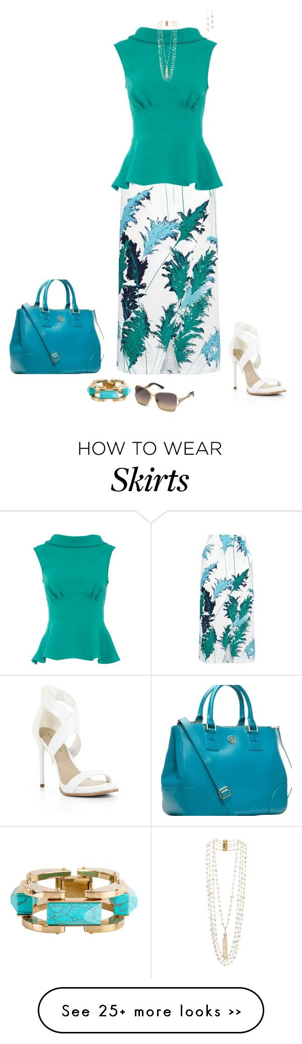 """Teal wrap skirt"" by julietajj on Polyvore"