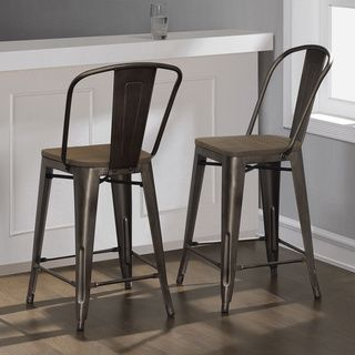 Adeco 30 Inch Industrial Chic Matt Tan Metal Barstool With