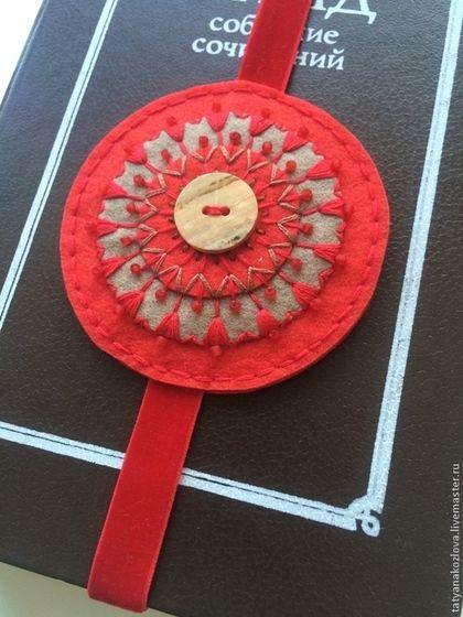 Персональные подарки ручной работы. Ярмарка Мастеров - ручная работа. Купить Закладка для книг из фетра Красное солнышко к 8 Марта. Handmade.