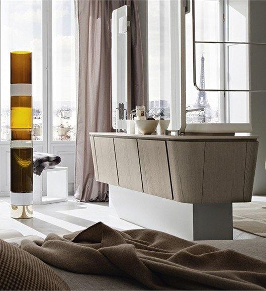 Countertop double #washbasin unit SUEDE 1 by Cerasa #bathroom #interiors #lamp