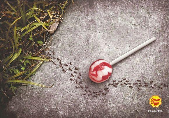 #Publicidad Chupa Chups 'Sugar Free' - ¡Chupeta libre de azúcar y de hormigas!