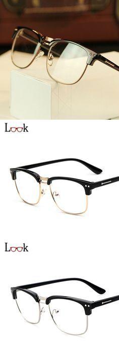 New 2016 Brand Metal Half-frame Eyeglasses Retro Clear Optical Glasses Frame Women Men Prescription Eyewear Gafas Lunette De Vue $8.39