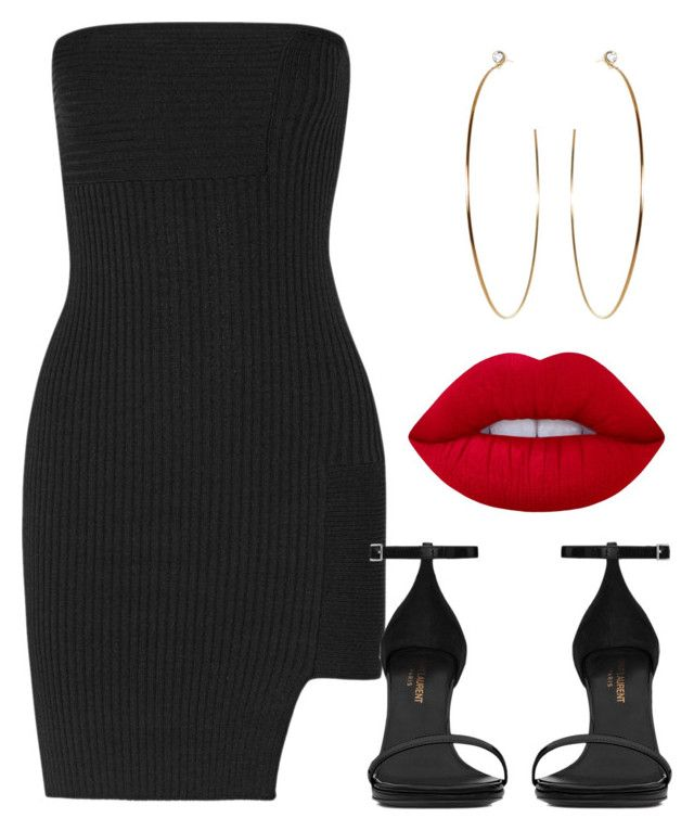 """""""yeah my baby knows that i deliver"""" by aiyanaa ❤ liked on Polyvore featuring Anthony Vaccarello, Yves Saint Laurent and Lime Crime"""