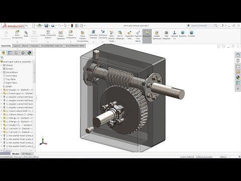 Solidworks tutorial   sketch Worm gear Reducer in Solidworks