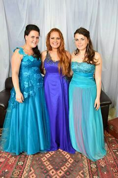 Three couture evening gowns by De Villiers Royal Couture.