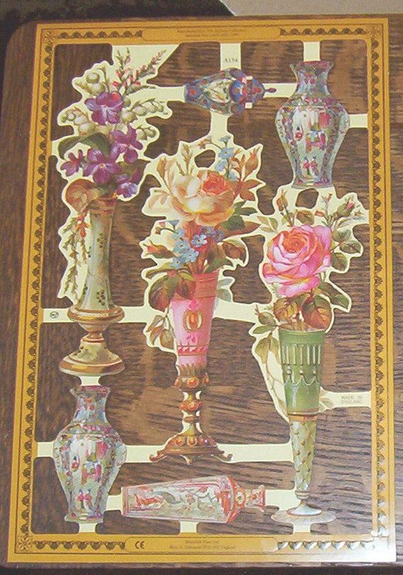 I AM SELLING THE REMAINDER OF MY INVENTORY. YOU WILL RECEIVE 20 SHEETS OF ENGLISH MAMELOK SCRAPS / DIE CUT SHEETS # A 154 LIKE YOU SEE IN THE PICTURE. EACH SHEET OF SCRAPS MEASURES APPROX. 9 1/4 X 6. A153 - Victorian vase of roses.