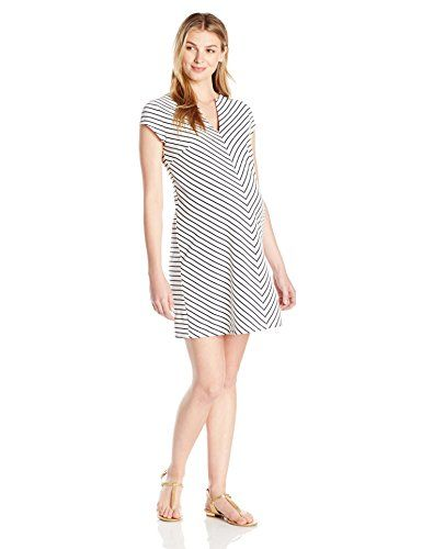 Maternal America Womens Maternity Short Sleeve Shift Dress Stripe Medium ** Want to know more, click on the image.Note:It is affiliate link to Amazon.