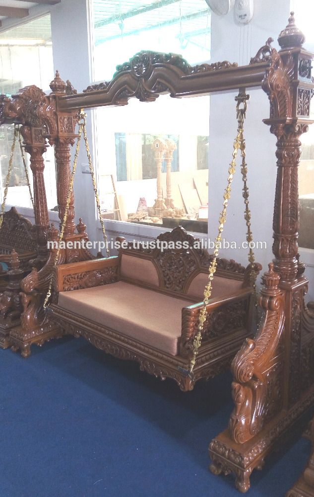 Royal indian traditional wooden swing jhoola buy royal for Terrace jhula