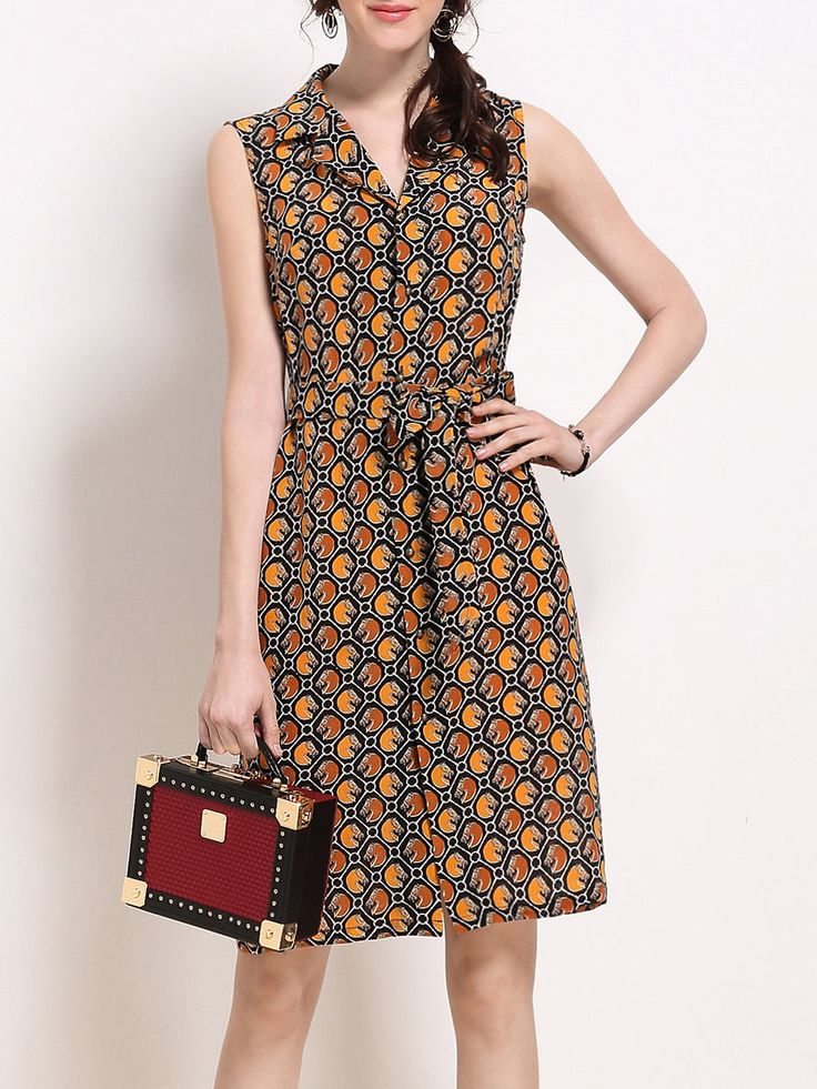 Shop Midi Dresses - Lapel Casual Sleeveless Printed Midi Dress online. Discover unique designers fashion at StyleWe.com.