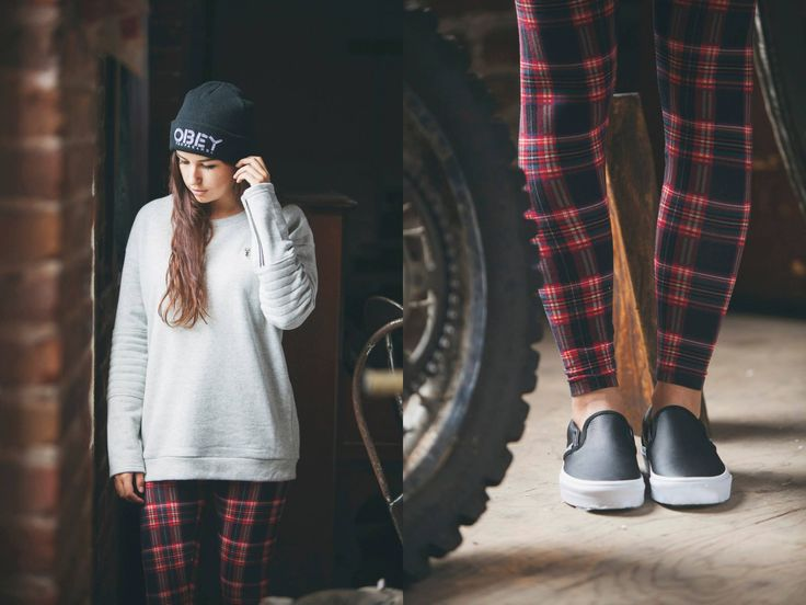 Vans Classic Slip-On Perf Leather / Obey Freestyle Beanie / Vans Yoshimi Joggers / Obey Lofty Mountain Moto Crew