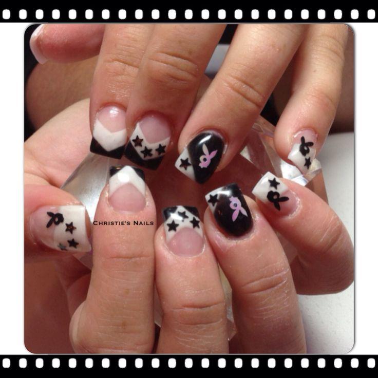 Black & white playboy gel nails