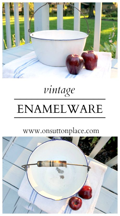Inspiration for using vintage enamelware in your cottage or farmhouse decor.